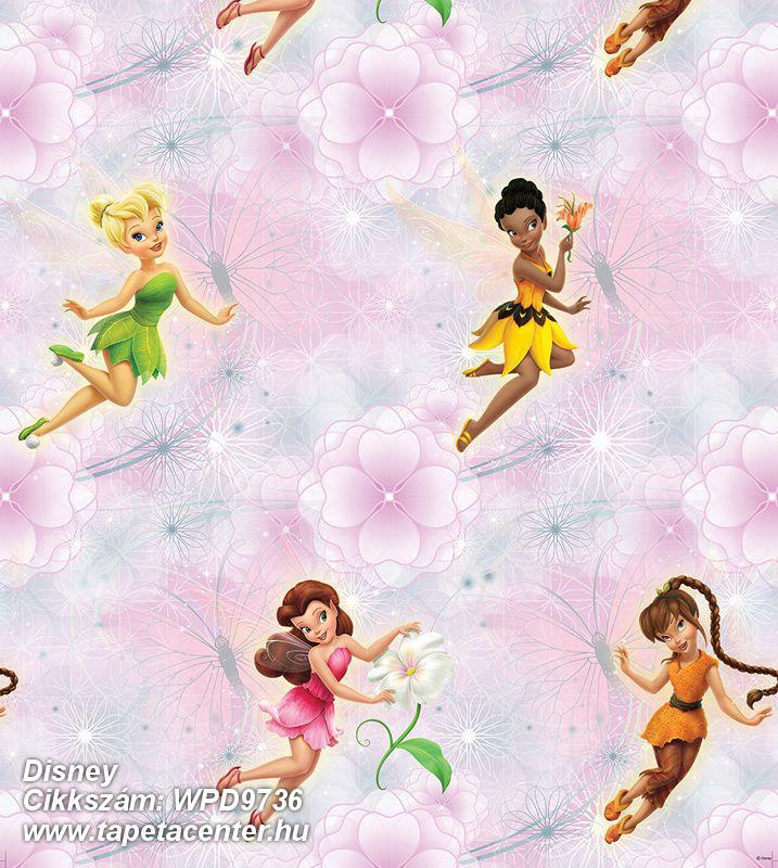 Gyerek,virágmintás,lila,pink-rózsaszín,zöld,gyengén mosható,vlies tapéta