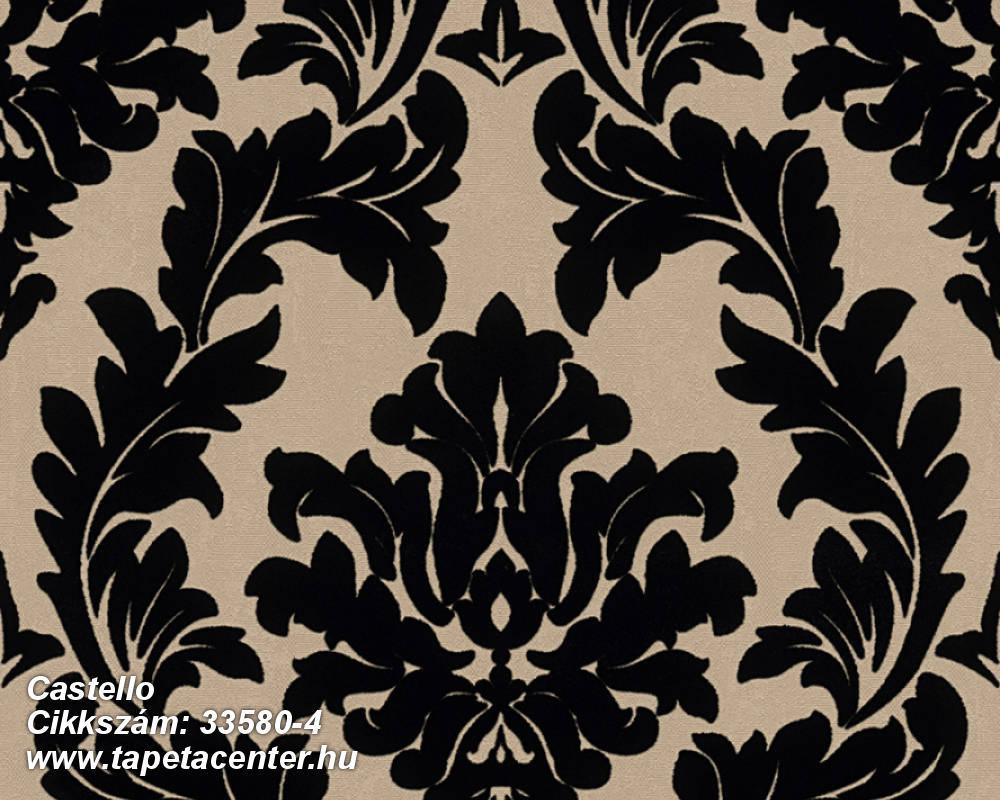 Barokk-klasszikus,különleges felületű,különleges motívumos,plüss felületű,velúr felületű,bézs-drapp,fekete,vlies tapéta