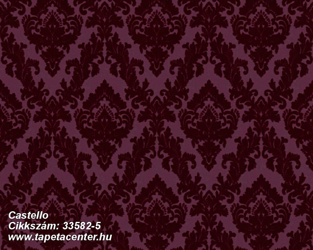 Barokk-klasszikus,különleges felületű,plüss felületű,velúr felületű,lila,piros-bordó,vlies tapéta