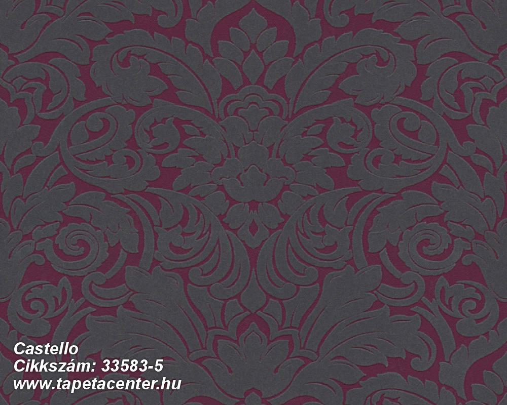 Barokk-klasszikus,különleges felületű,plüss felületű,velúr felületű,lila,piros-bordó,szürke,vlies tapéta