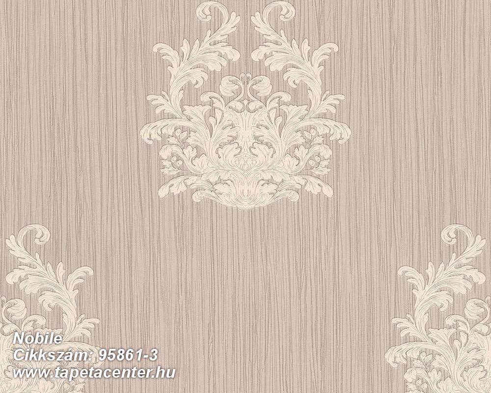 Barokk-klasszikus,csíkos,különleges felületű,különleges motívumos,textilmintás,barna,bézs-drapp,vajszín,súrolható,vlies tapéta