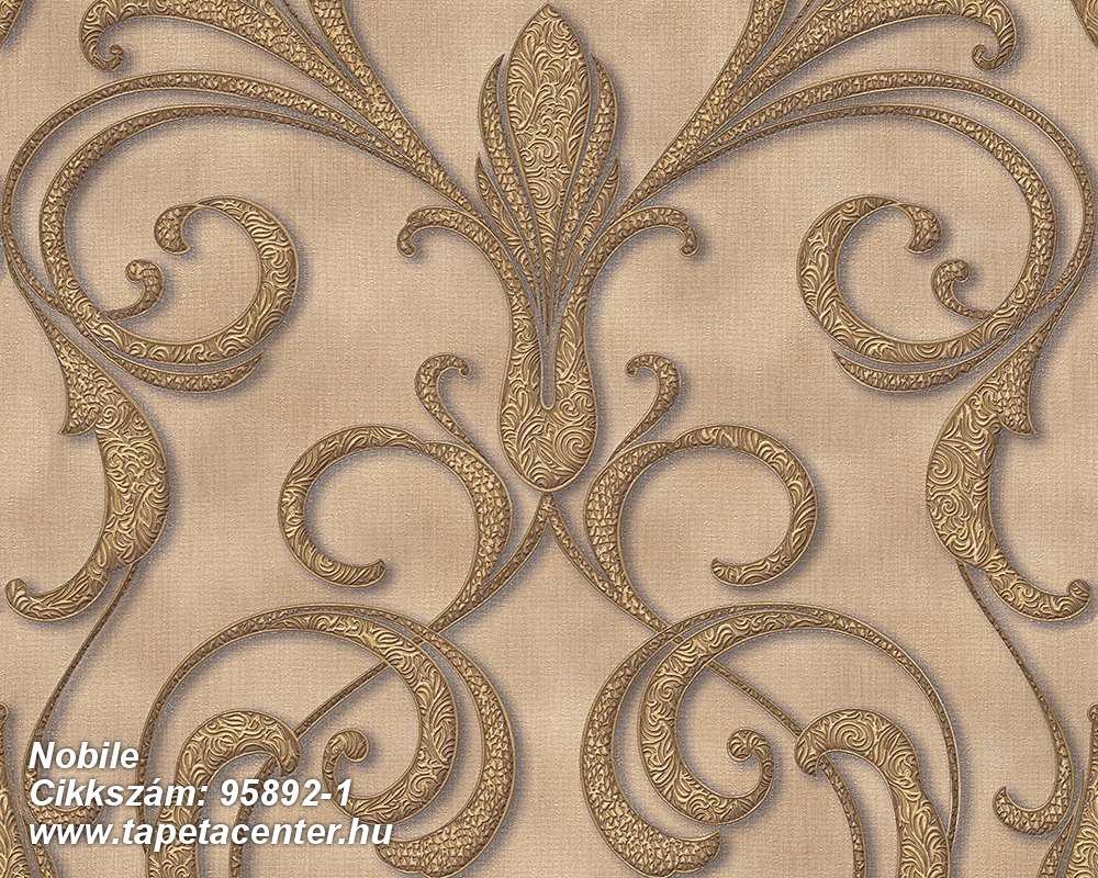 Barokk-klasszikus,különleges motívumos,arany,barna,bézs-drapp,súrolható,vlies tapéta