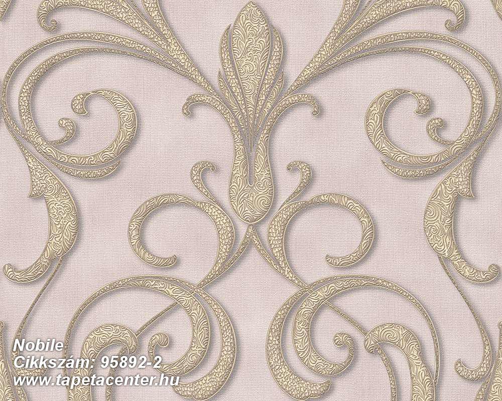 Barokk-klasszikus,különleges motívumos,arany,barna,lila,vajszín,súrolható,vlies tapéta