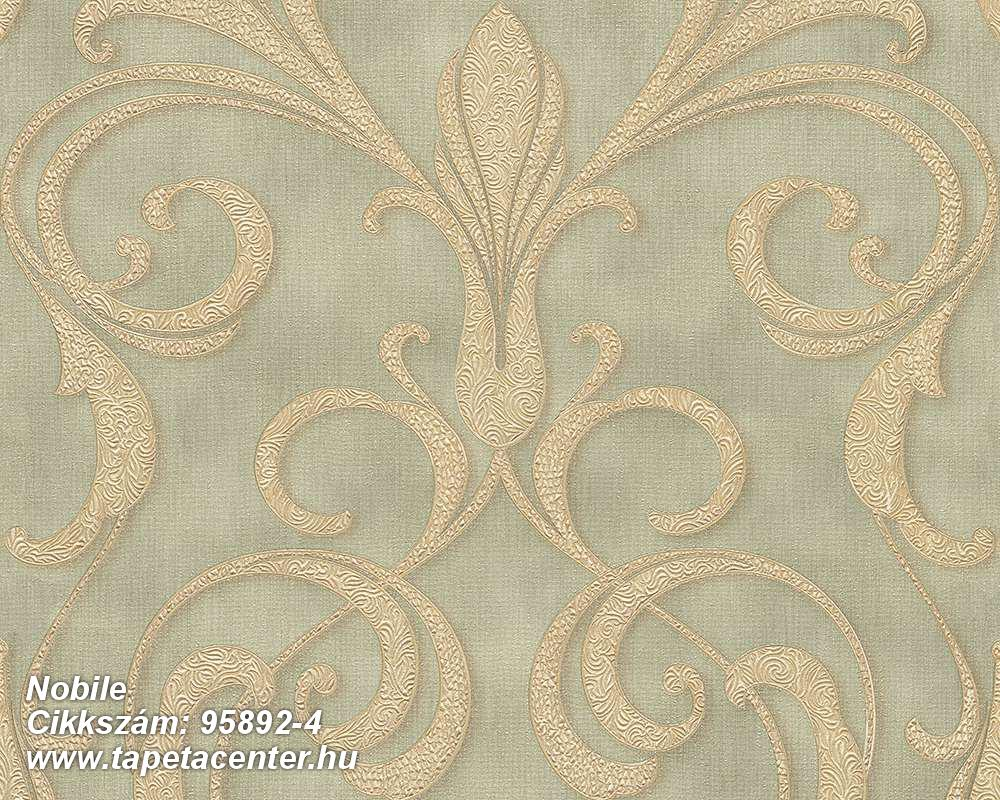 Barokk-klasszikus,különleges felületű,különleges motívumos,arany,bézs-drapp,zöld,súrolható,vlies tapéta