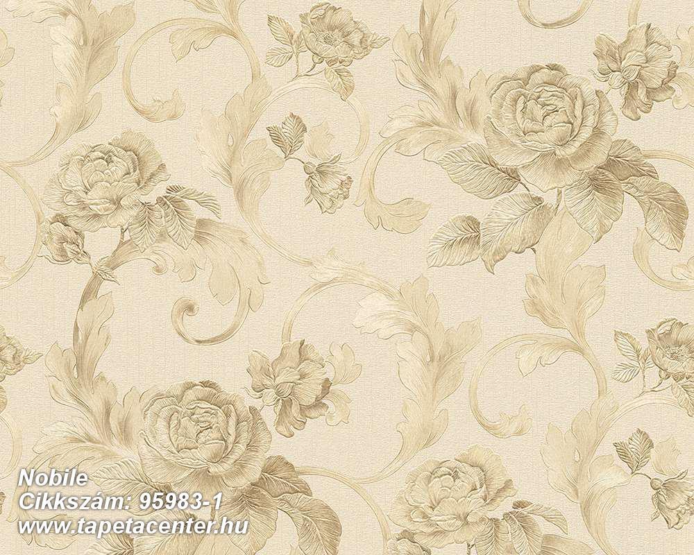 Barokk-klasszikus,különleges felületű,metál-fényes,rajzolt,virágmintás,bézs-drapp,bronz,vajszín,súrolható,vlies tapéta