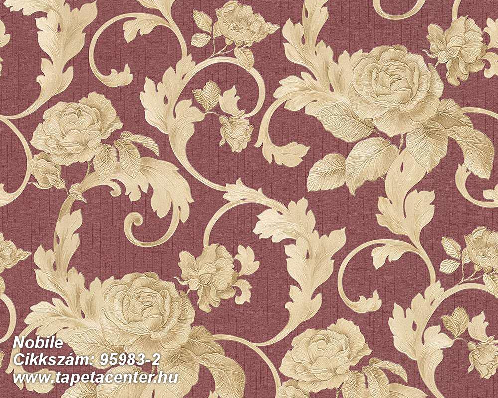 Barokk-klasszikus,különleges felületű,metál-fényes,természeti mintás,virágmintás,bézs-drapp,piros-bordó,vajszín,súrolható,vlies tapéta