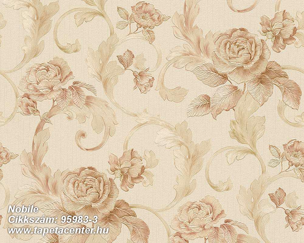 Barokk-klasszikus,természeti mintás,virágmintás,barna,bézs-drapp,vajszín,súrolható,vlies tapéta
