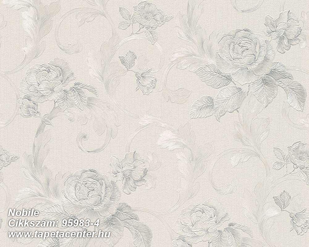 Barokk-klasszikus,metál-fényes,természeti mintás,virágmintás,ezüst,kék,szürke,súrolható,vlies tapéta
