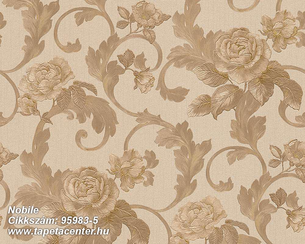 Különleges felületű,természeti mintás,virágmintás,barna,bézs-drapp,vlies tapéta