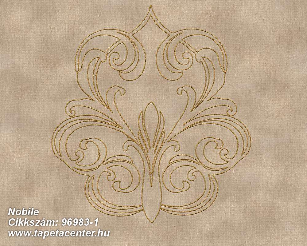 Barokk-klasszikus,különleges felületű,különleges motívumos,metál-fényes,arany,barna,bézs-drapp,súrolható,illesztés mentes,vlies tapéta