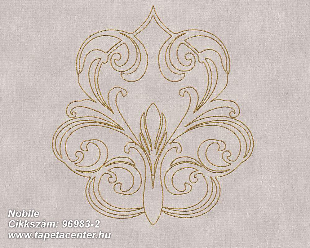 Különleges felületű,metál-fényes,barokk-klasszikus,arany,lila,szürke,súrolható,illesztés mentes,vlies tapéta