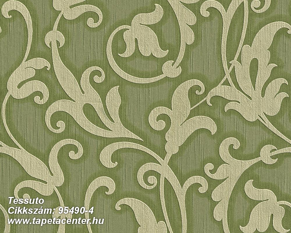 Különleges motívumos,természeti mintás,valódi textil,virágmintás,zöld,gyengén mosható,vlies tapéta