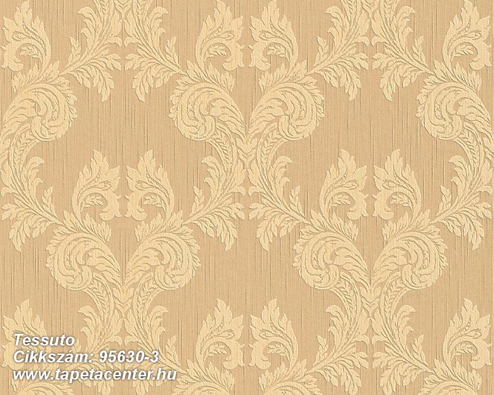 Barokk-klasszikus,különleges motívumos,természeti mintás,valódi textil,virágmintás,barna,bézs-drapp,vajszín,gyengén mosható,vlies tapéta