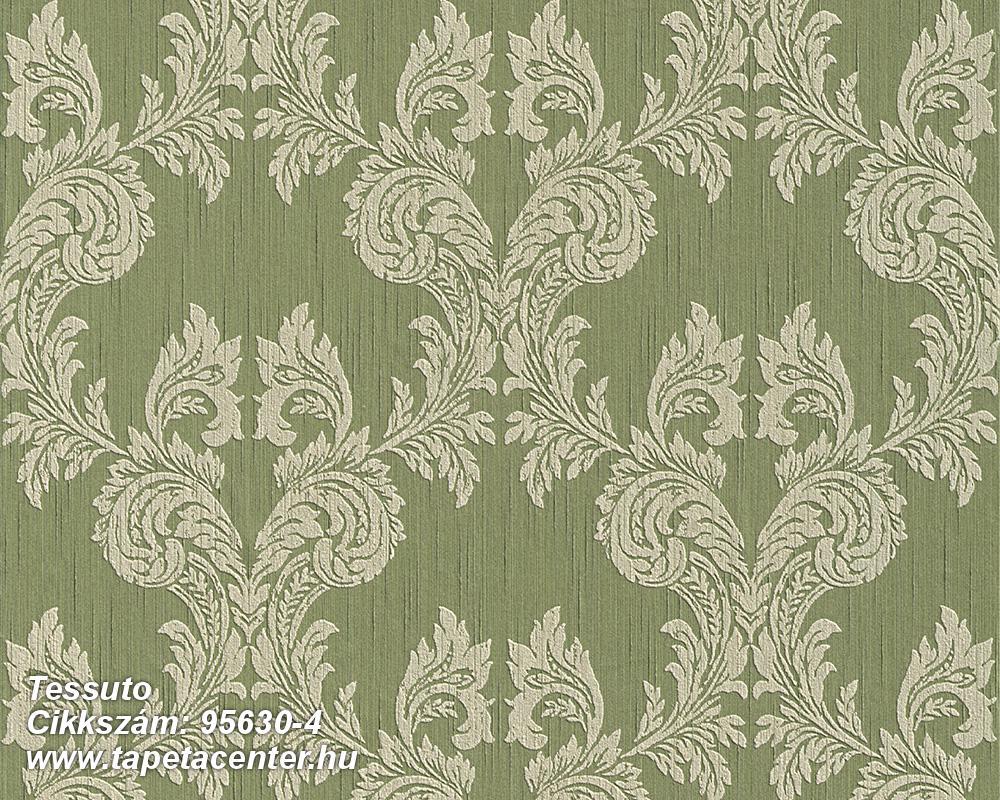 Barokk-klasszikus,különleges motívumos,valódi textil,gyöngyház,zöld,gyengén mosható,vlies tapéta