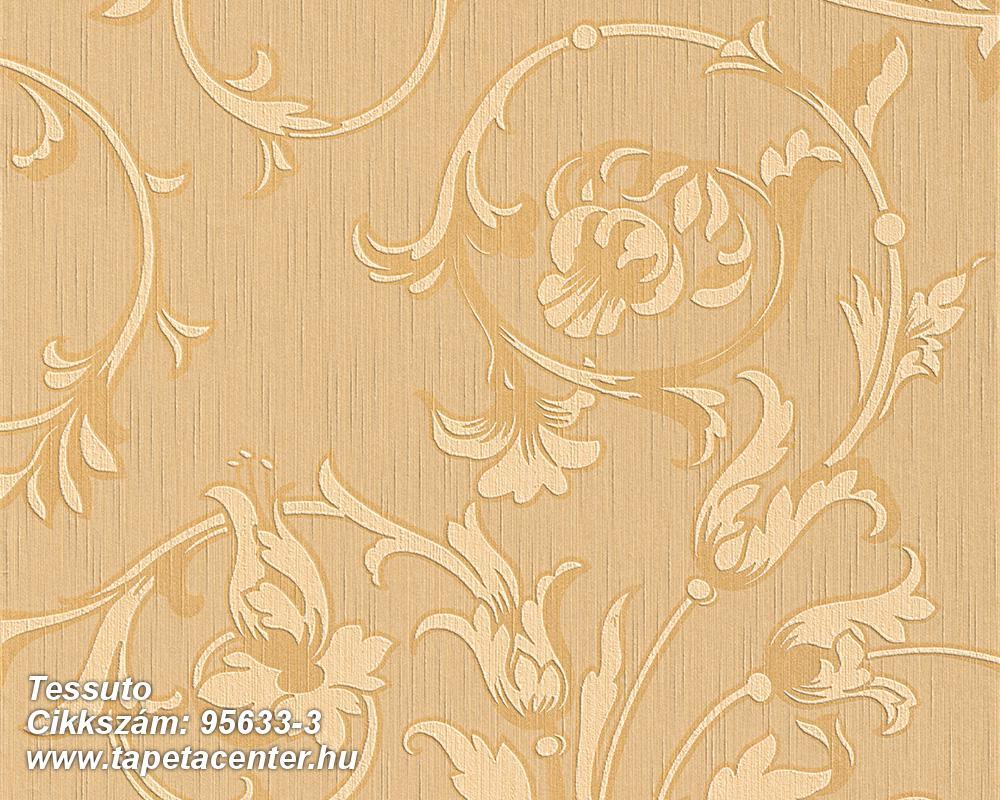 Különleges motívumos,természeti mintás,valódi textil,virágmintás,bronz,narancs-terrakotta,gyengén mosható,vlies tapéta