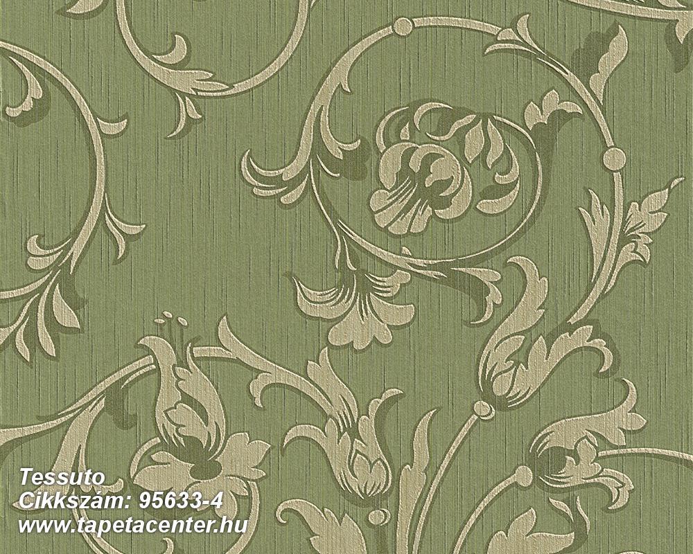 Különleges motívumos,természeti mintás,valódi textil,virágmintás,vajszín,zöld,gyengén mosható,vlies tapéta