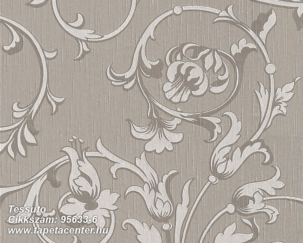 Barokk-klasszikus,különleges motívumos,természeti mintás,valódi textil,virágmintás,szürke,gyengén mosható,vlies tapéta