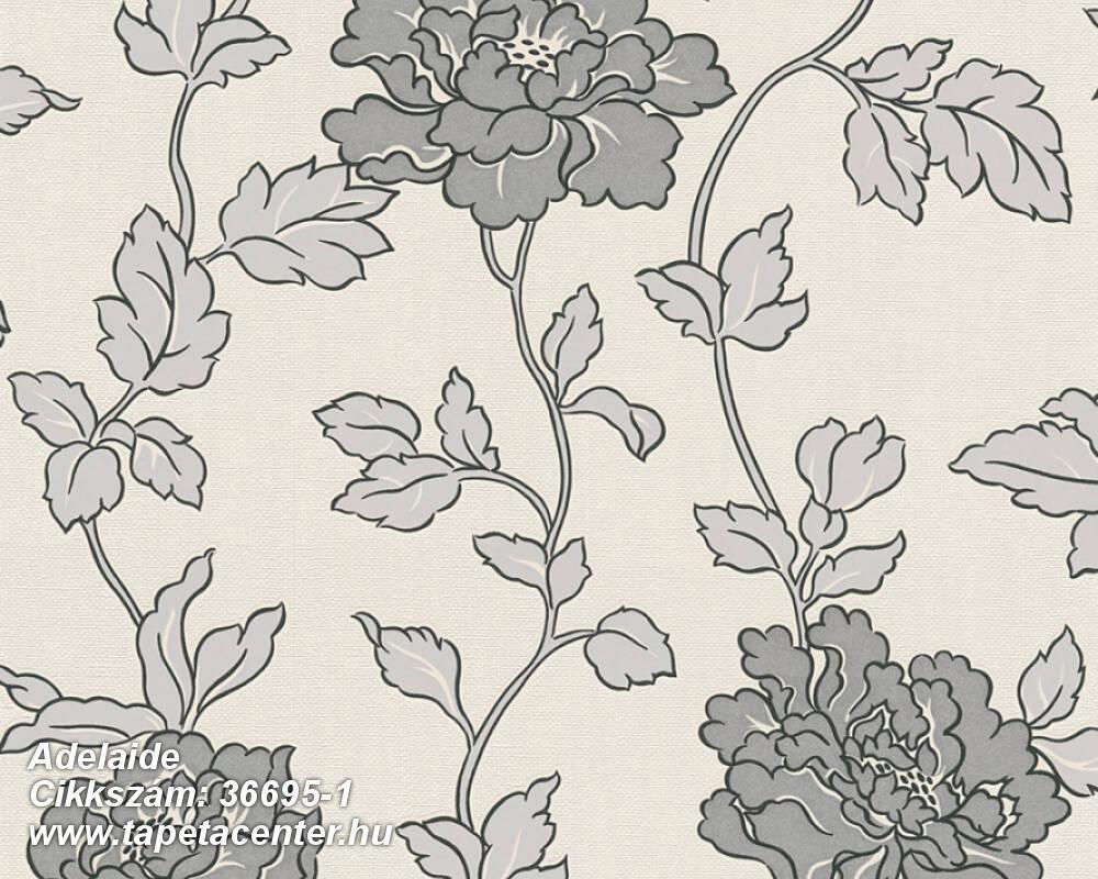 Csillámos,virágmintás,ezüst,fehér,szürke,lemosható,papír tapéta