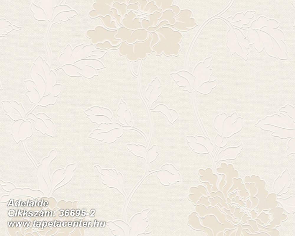 Csillámos,virágmintás,bézs-drapp,fehér,gyöngyház,lemosható,papír tapéta