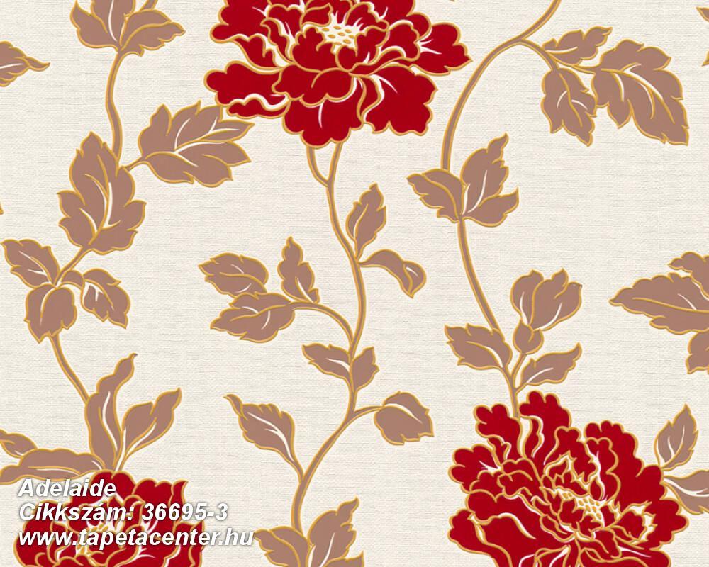 Csillámos,virágmintás,barna,narancs-terrakotta,piros-bordó,lemosható,papír tapéta
