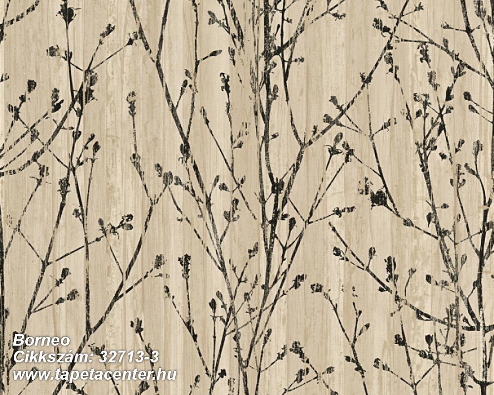 Különleges felületű,különleges motívumos,barna,bézs-drapp,fekete,súrolható,vlies tapéta