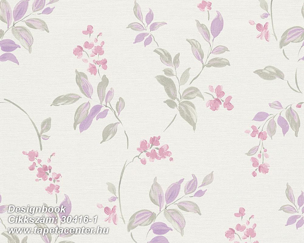 Virágmintás,gyerek,különleges motívumos,rajzolt,retro,természeti mintás,fehér,lila,pink-rózsaszín,zöld,lemosható,vlies tapéta