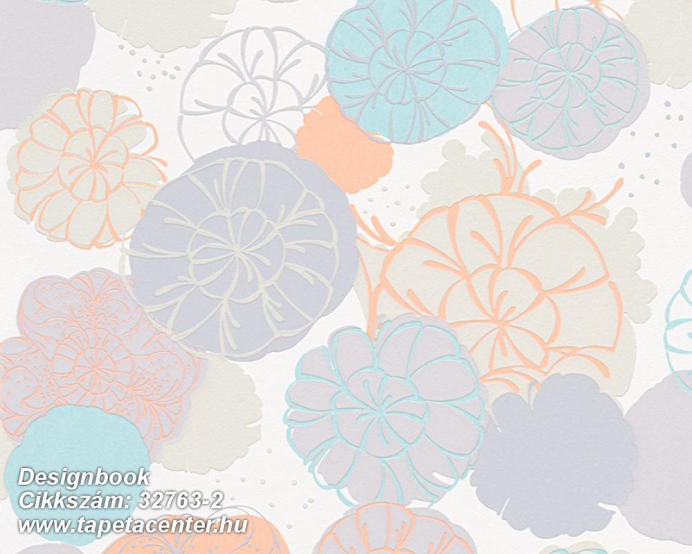 Rajzolt,retro,virágmintás,fehér,kék,lila,narancs-terrakotta,lemosható,vlies tapéta