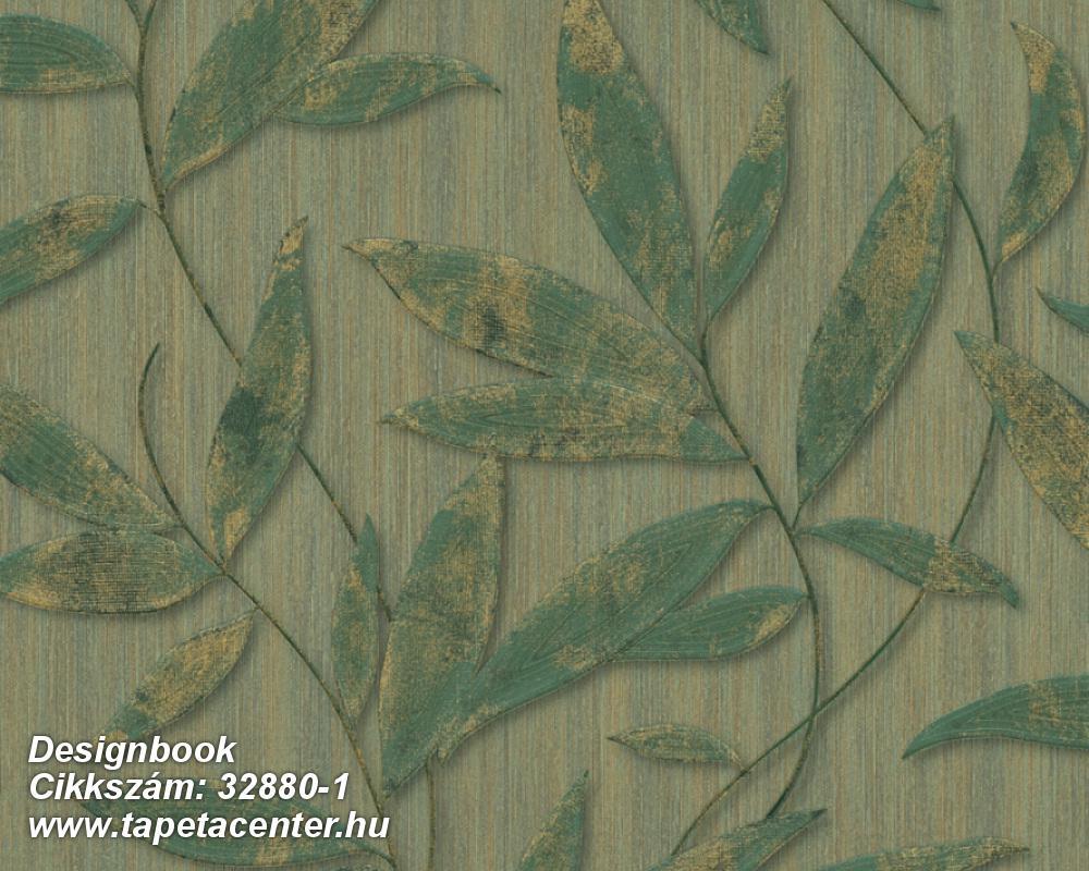 Természeti mintás,arany,zöld,súrolható,vlies tapéta