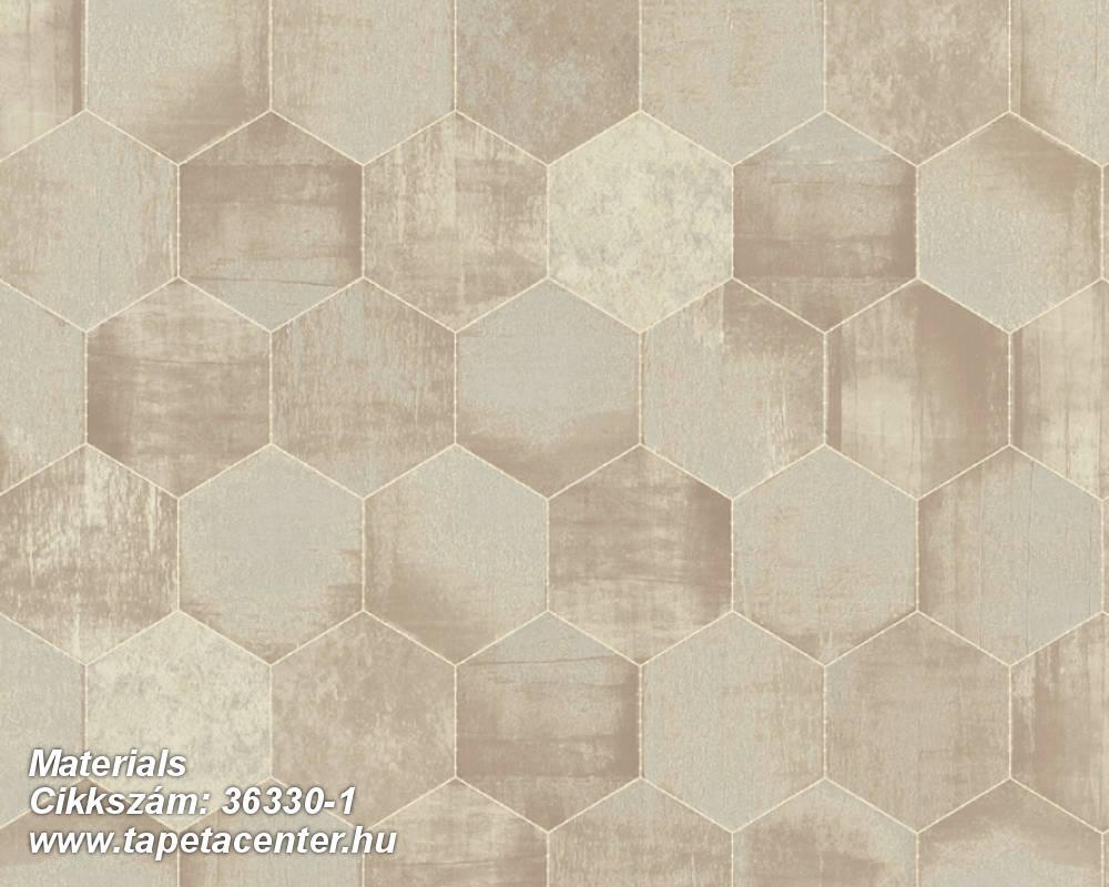 Absztrakt,fémhatású - indusztriális,geometriai mintás,bézs-drapp,vajszín,súrolható,vlies tapéta