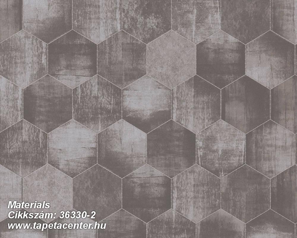 Absztrakt,fémhatású - indusztriális,geometriai mintás,ezüst,szürke,súrolható,vlies tapéta