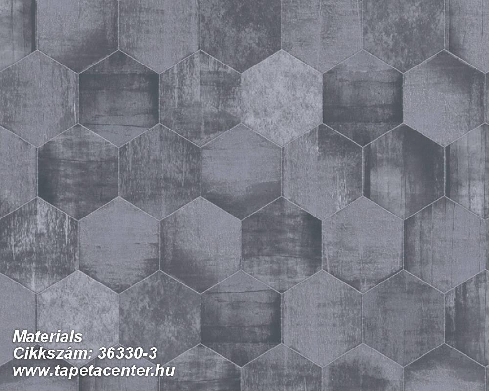 Absztrakt,fémhatású - indusztriális,geometriai mintás,kék,szürke,súrolható,vlies tapéta