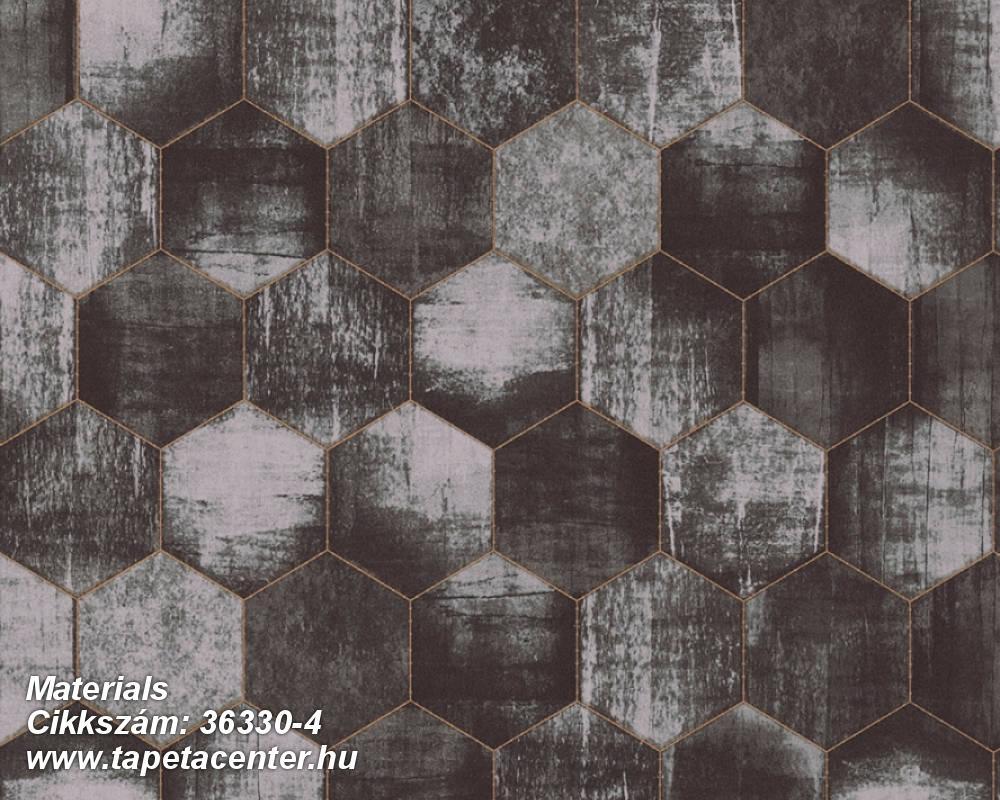 Absztrakt,fémhatású - indusztriális,geometriai mintás,barna,ezüst,fekete,szürke,súrolható,vlies tapéta