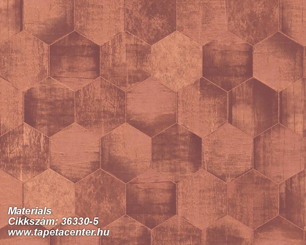 Absztrakt,fémhatású - indusztriális,geometriai mintás,narancs-terrakotta,piros-bordó,súrolható,vlies tapéta