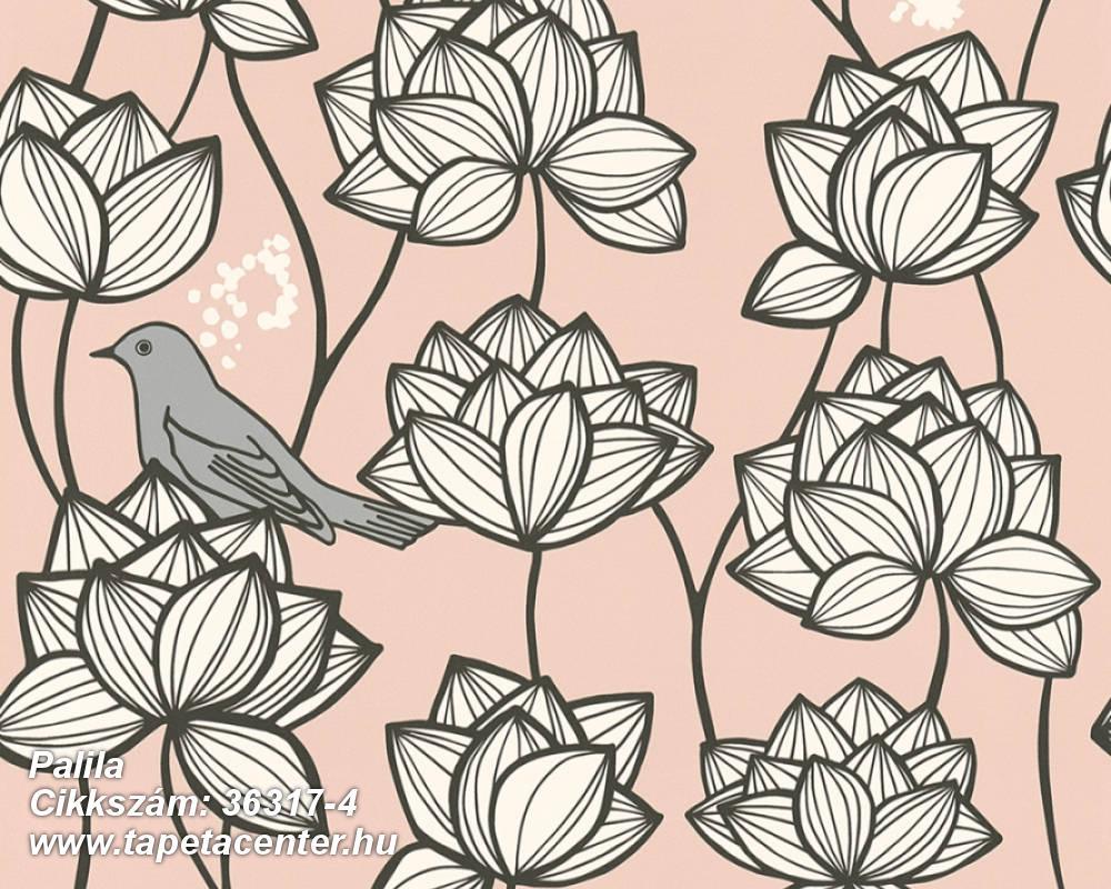 állatok,különleges felületű,virágmintás,fehér,fekete,pink-rózsaszín,szürke,súrolható,vlies tapéta
