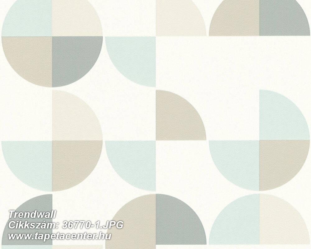 Geometriai mintás,fehér,kék,szürke,súrolható,vlies tapéta