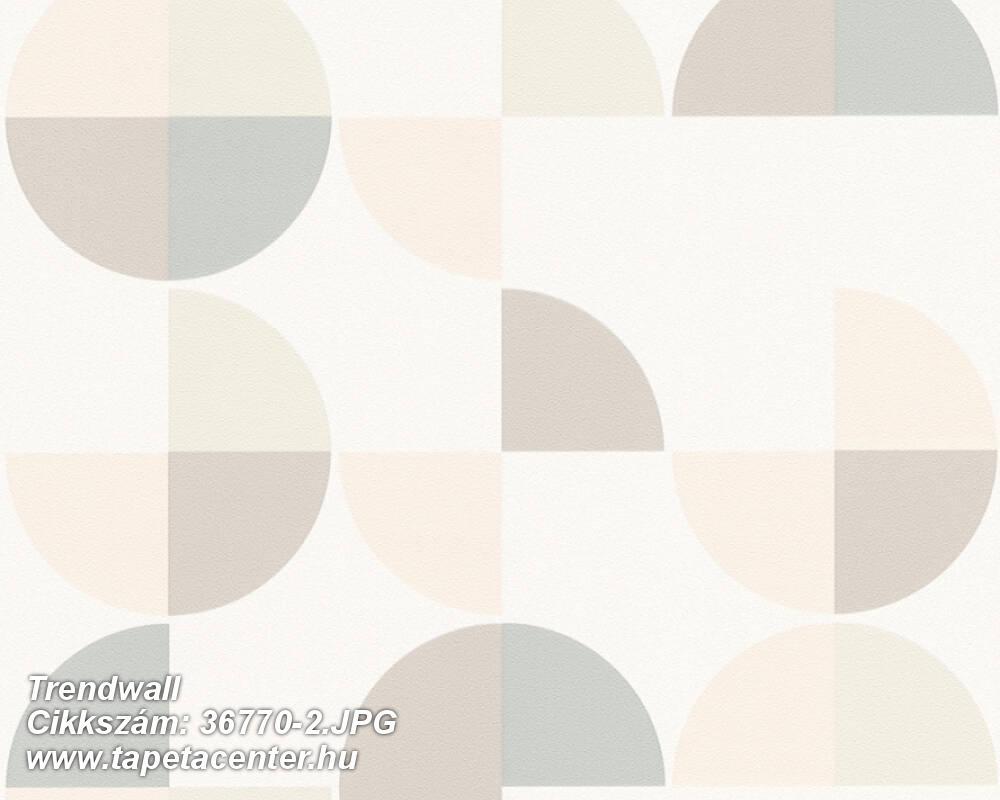 Geometriai mintás,fehér,pink-rózsaszín,szürke,súrolható,vlies tapéta