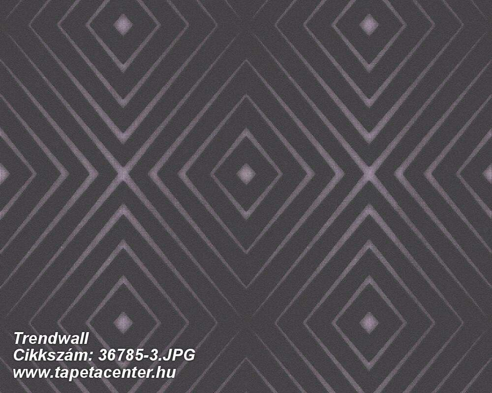 3d hatású,geometriai mintás,fekete,lila,súrolható,vlies tapéta