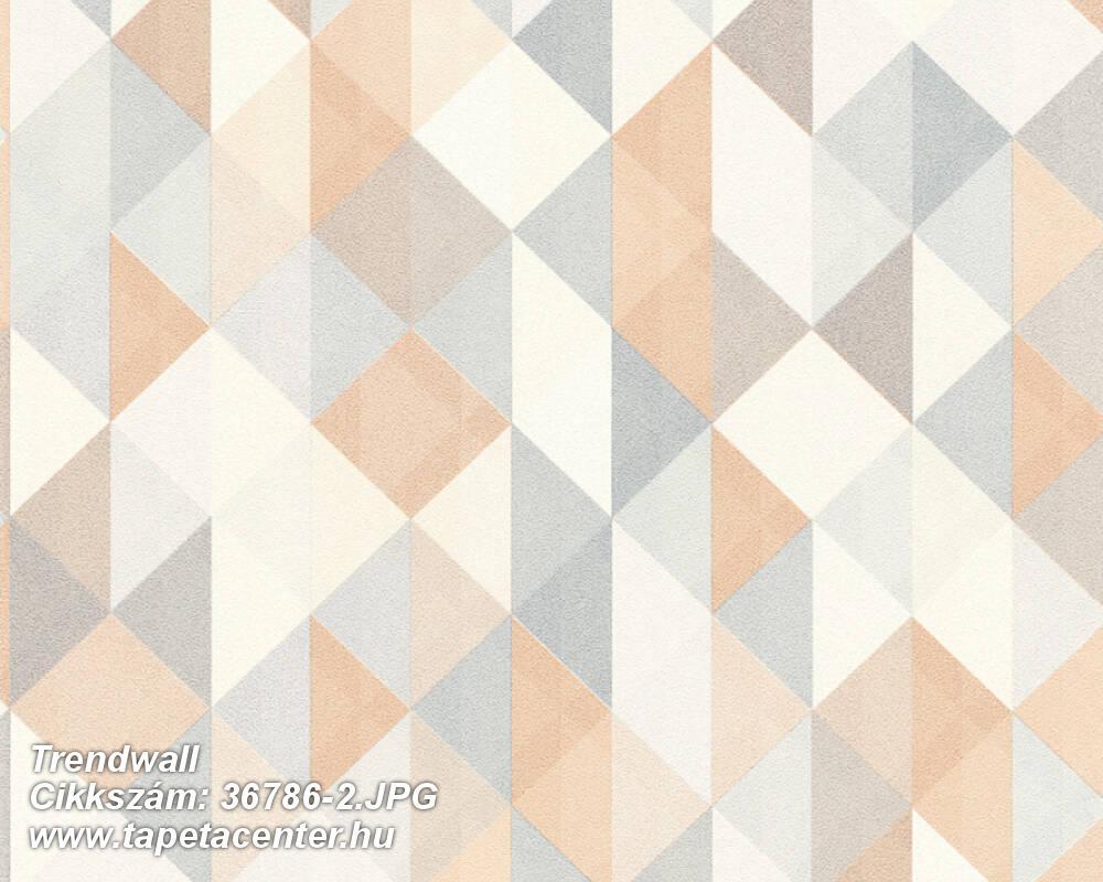 Absztrakt,geometriai mintás,fehér,kék,narancs-terrakotta,szürke,súrolható,vlies tapéta