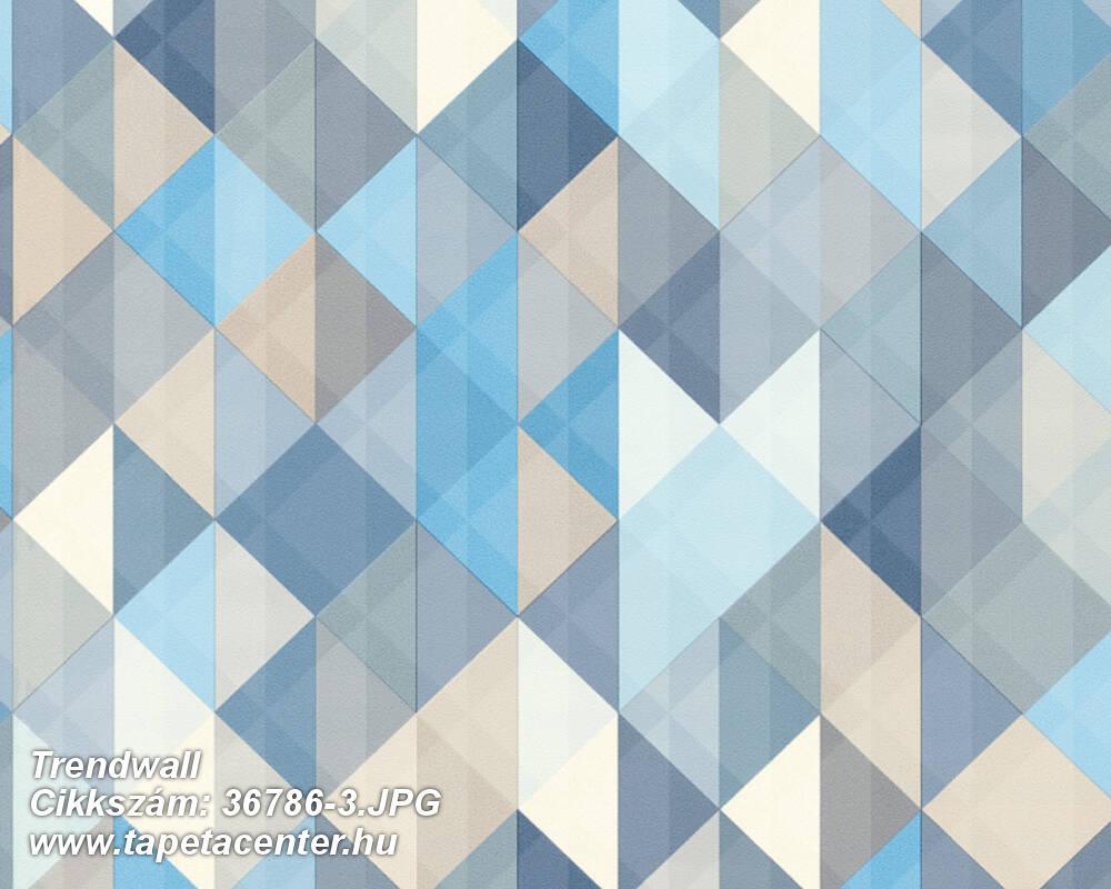 Absztrakt,geometriai mintás,bézs-drapp,fehér,kék,súrolható,vlies tapéta