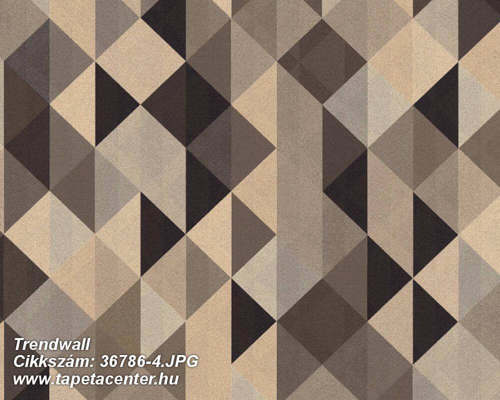 Absztrakt,geometriai mintás,arany,barna,súrolható,vlies tapéta