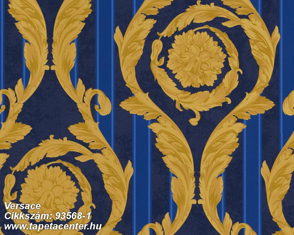 Csíkos,barokk-klasszikus,kék,arany,súrolható,vlies tapéta
