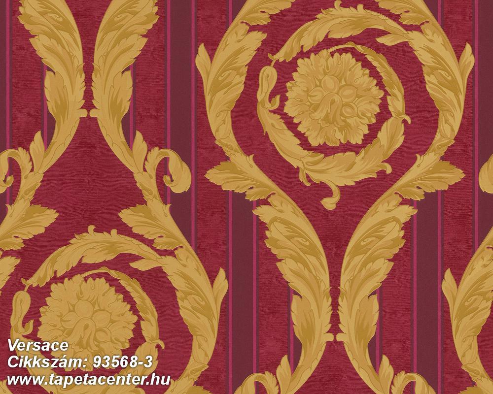 Csíkos,barokk-klasszikus,piros-bordó,arany,súrolható,vlies tapéta