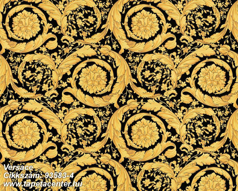 Barokk-klasszikus,fekete,arany,súrolható,vlies tapéta