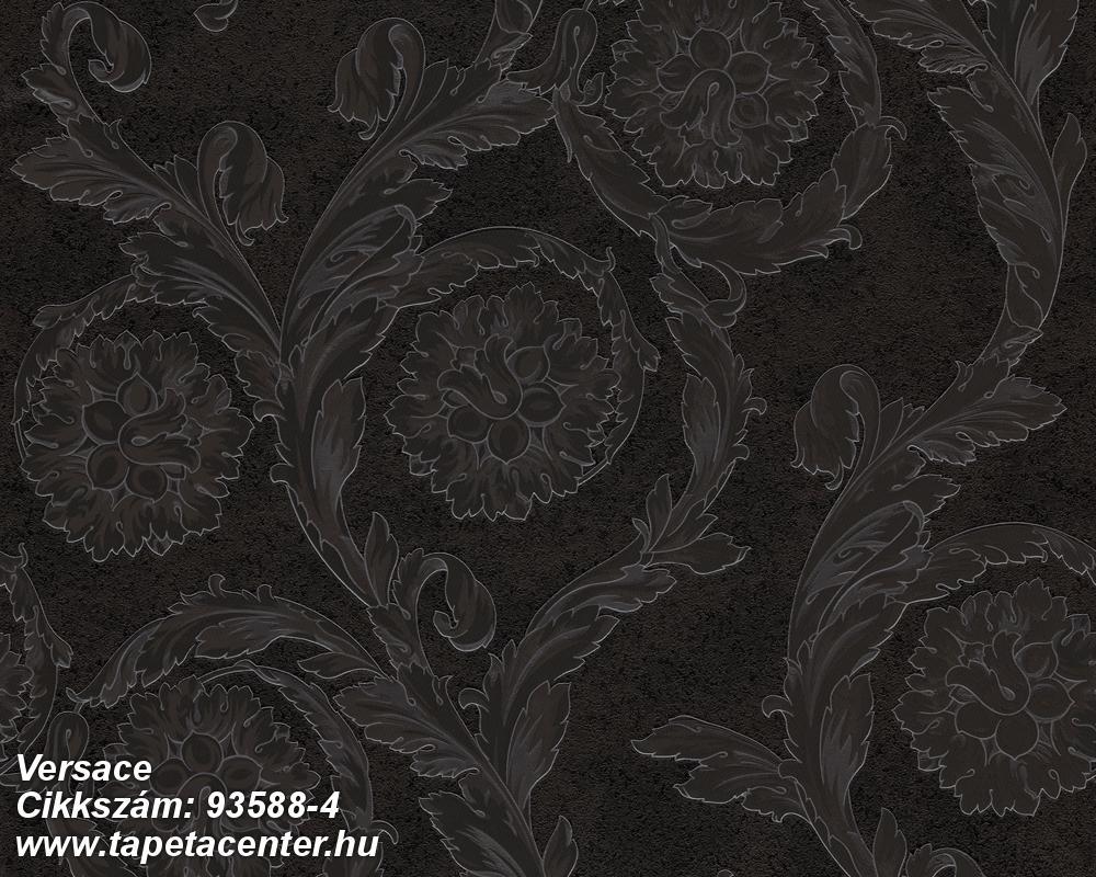 Barokk-klasszikus,szürke,fekete,súrolható,vlies tapéta