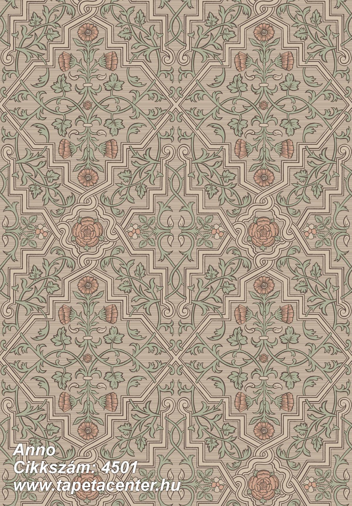 Barokk-klasszikus,rajzolt,retro,virágmintás,bronz,narancs-terrakotta,zöld,lemosható,vlies tapéta
