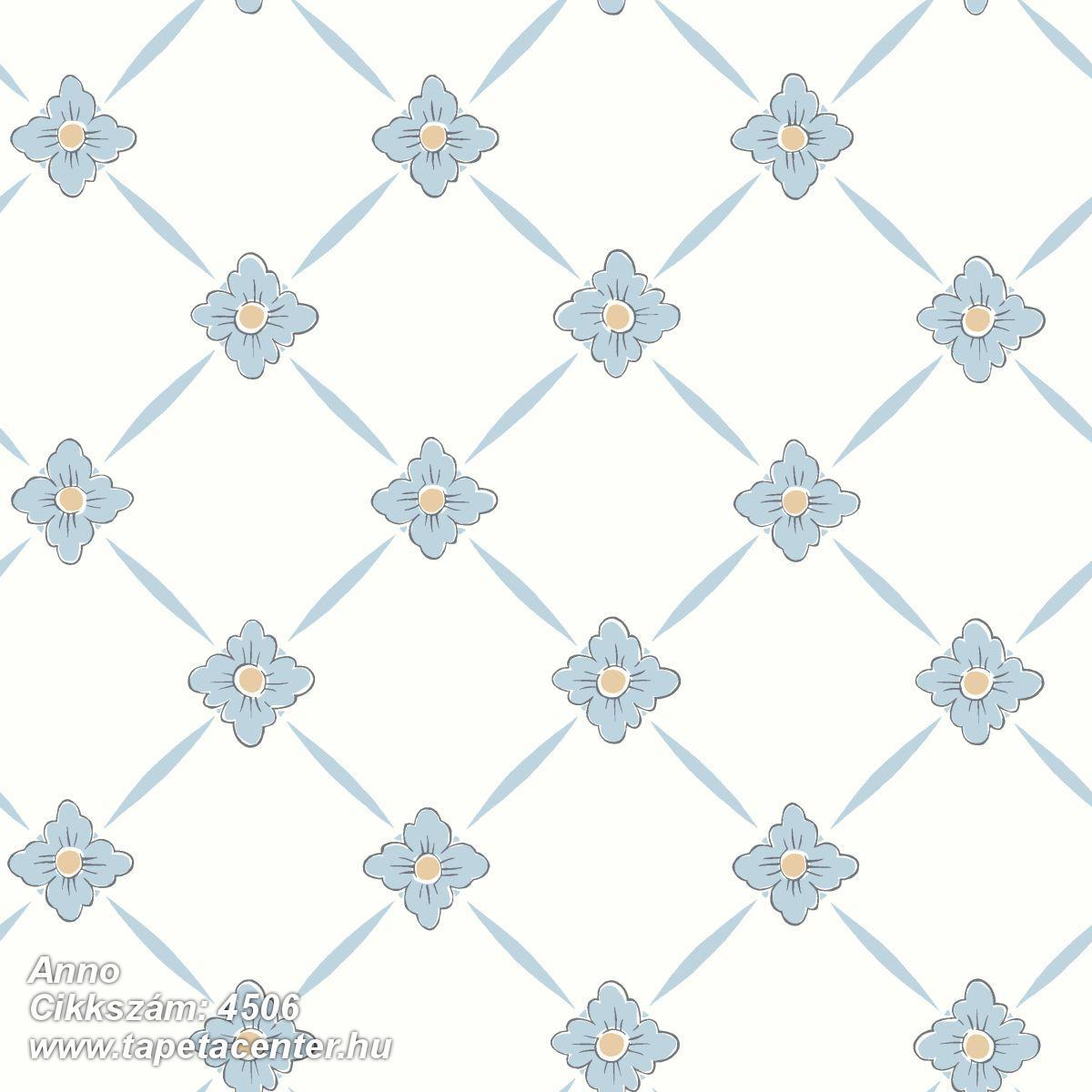 Különleges motívumos,rajzolt,retro,virágmintás,fehér,kék,lemosható,vlies tapéta