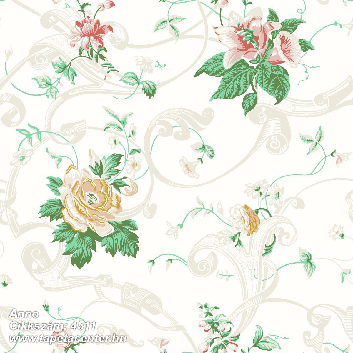 Barokk-klasszikus,rajzolt,virágmintás,fehér,piros-bordó,sárga,zöld,lemosható,vlies tapéta