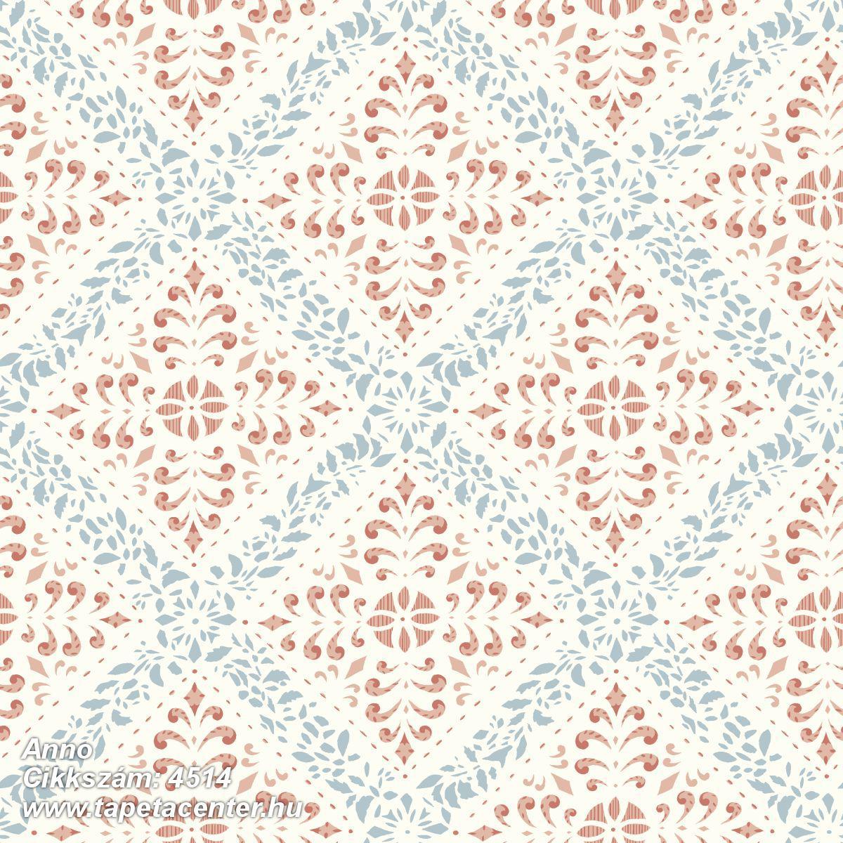 Barokk-klasszikus,rajzolt,fehér,kék,piros-bordó,lemosható,vlies tapéta