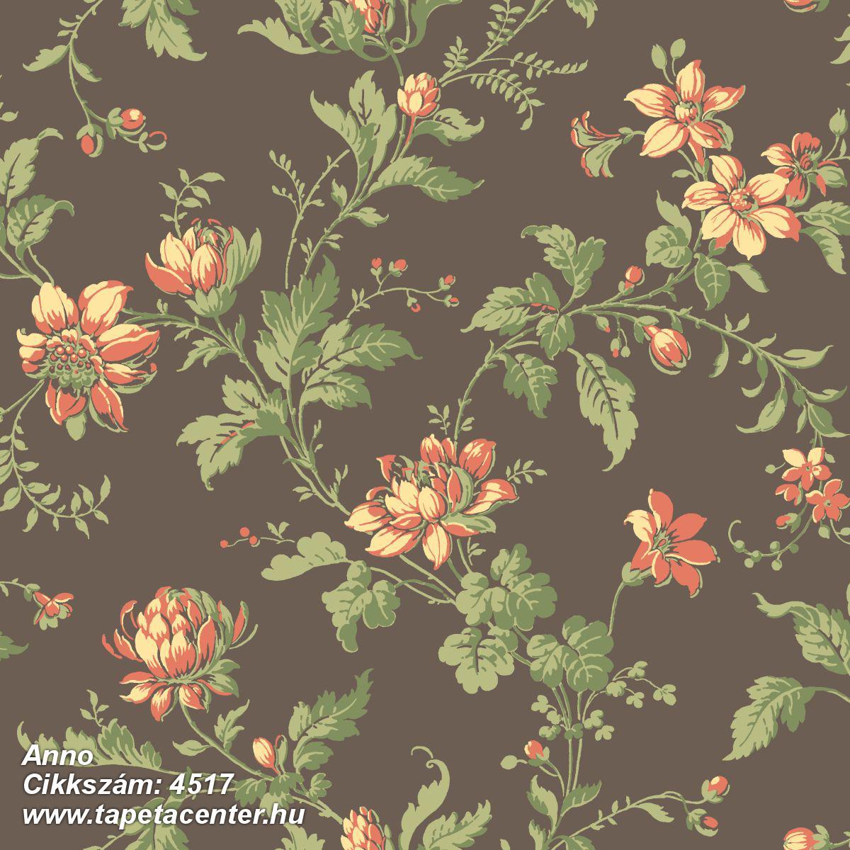 Barokk-klasszikus,virágmintás,barna,narancs-terrakotta,zöld,lemosható,vlies tapéta