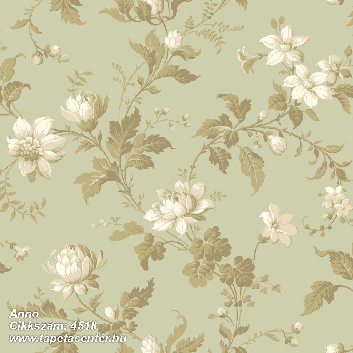 Különleges motívumos,virágmintás,vajszín,zöld,lemosható,vlies tapéta